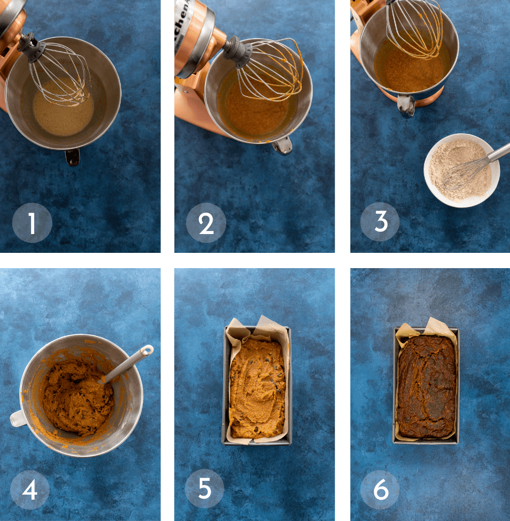 Step by step instructions to make gluten free pumpkin bread