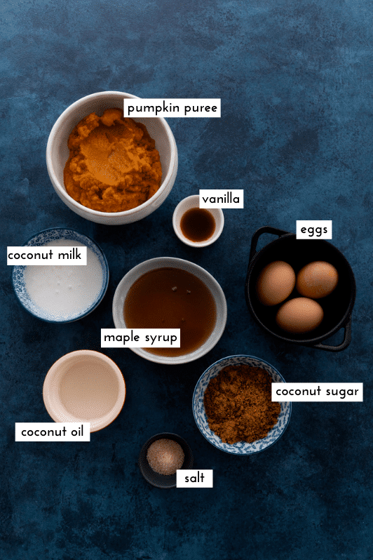 Wet ingredients needed for pumpkin bread laid out