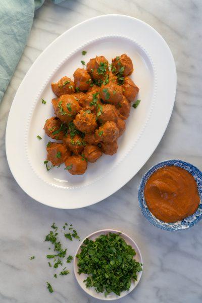 Meatballs on a platter