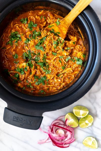Slow Cooker Chicken Tinga with Cilantro, Red Onion and Limes