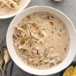 Dairy Free Chicken and Wild Rice Soup in Bowls